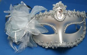 Silver Masquerade Mask - Mask with Flower | Masks and Tiaras